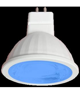 Ecola MR16 LED color 9,0W 220V GU5.3 Blue Синий (насыщенный цвет) прозрачное стекло (композит) 47х50