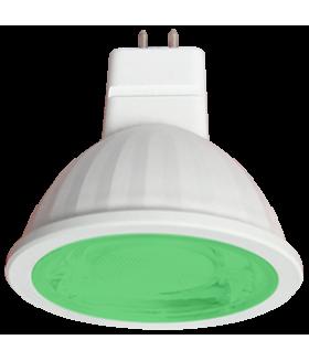 Ecola MR16 LED color 9,0W 220V GU5.3 Green Зеленый (насыщенный цвет) прозрачное стекло (композит) 47х50