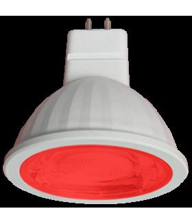 Ecola MR16 LED color 9,0W 220V GU5.3 Red Красный (насыщенный цвет) прозрачное стекло (композит) 47x50