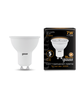 Лампа Gauss LED MR16 GU10 7W 3000K 1/10/100