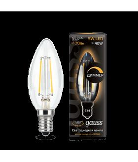 Лампа Gauss LED Filament Candle E14 5W 2700К 1/10/50