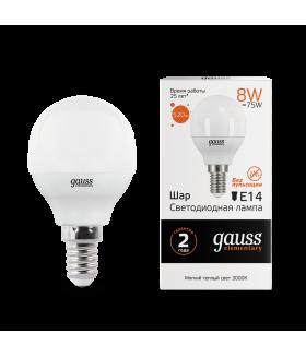 Лампа Gauss LED Elementary Globe 8W E14 3000K 1/10/100