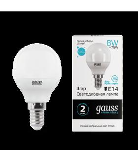 Лампа Gauss LED Elementary Globe 8W E14 4100K 1/10/100