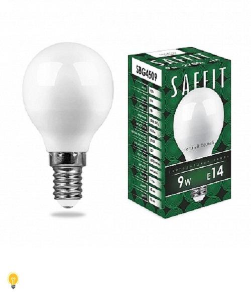 Лампа светодиодная SAFFIT SBG4509 Шарик E14 9W 2700K 55080