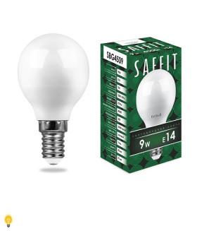 Лампа светодиодная SAFFIT SBG4509 Шарик E14 9W 4000K 55081