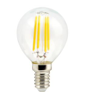 Ecola globe LED Premium 6,0W G45 220V E14 4000K 360° filament прозр. нитевидный шар (Ra 80, 100 Lm/W, КП=0) 78х45