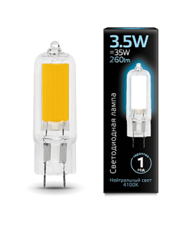 Лампа Gauss LED G4 AC220-240V 3.5W 4100K Glass 1/10/200