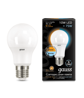 Лампа Gauss LED A60 10W E27 2700K/4100K CTC 1/10/50