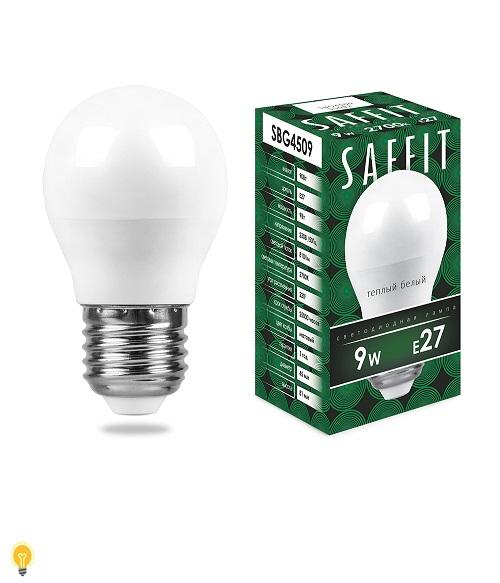 Лампа светодиодная SAFFIT SBG4509 Шарик E27 9W 2700K 55082