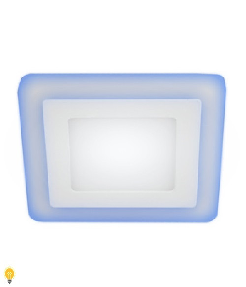 Светильник ЭРА светодиодный квадратный c cиней подсветкой LED 6W 220V 4000K LED 4-6 BL