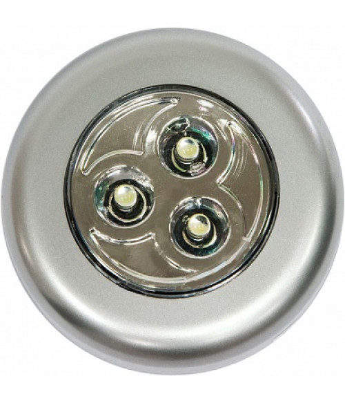 Светильник-ночник 3LED 0.18W (3*AAA в комплект не входят), IP40, 70×70×25mm, серебряный, FN1203