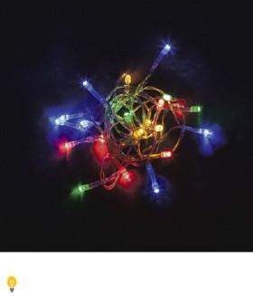 Гирлянда 4.5V 20 LED мульти, 1.28W, 42mA, длина 2 м, батарейки 3*АА, IP20, шнур 0,5 м 0.12мм, CL555
