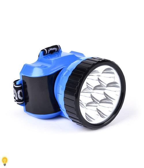Светодиодный налобный аккумуляторный  фонарь 12 LED Smartbuy, синий