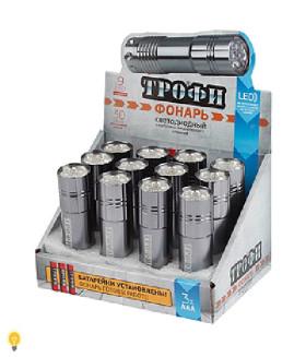 Светодиодный фонарь Трофи 9xLED, алюминий, 3хААА в комплекте, промо-бокс TM9-box12