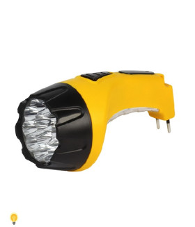 Аккумуляторный светодиодный фонарь 15+10 LED с прямой зарядкой Smartbuy, желтый