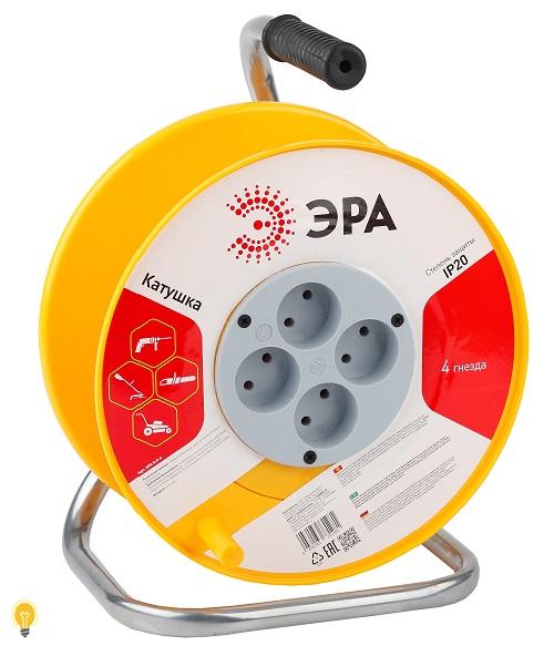Удлинитель силовой ЭРА K-P-4 Катушка пластиковая без заземления 4гн