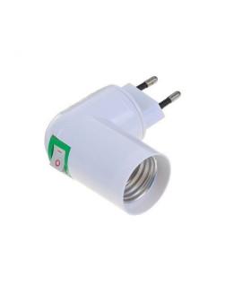 Переходник вилка-Е27 с выключателемючателем, белый ЭРА