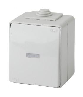 Выключатель с подсветкой IP65, 10АХ-250В, ОУ, Эра Эксперт, серый 11-1602-03