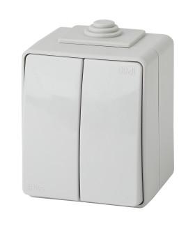 Выключатель двойной IP65, 10АХ-250В, ОУ, Эра Эксперт, серый 11-1604-03
