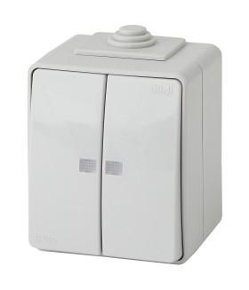 Выключатель двойной с подсветкой IP65, 10АХ-250В, ОУ, Эра Эксперт, серый 11-1605-03