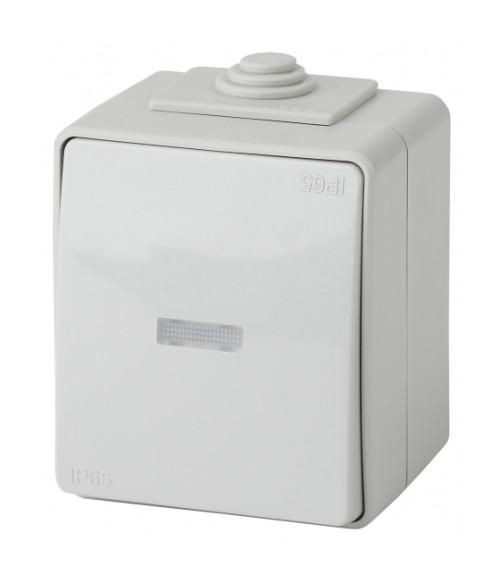 Переключатель с подсветкой IP65, 10АХ-250В, ОУ, Эра Эксперт, серый 11-1610-03