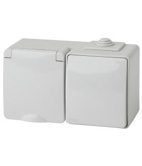 Блок розетка+выкл. гориз. IP65, 16A(10AX)-250В, ОУ, Эра Эксперт, серый 11-7601-03