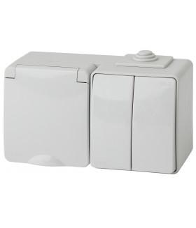Блок розетка+выкл. двойн. гориз. IP65, 16A(10AX)-250В, ОУ, Эра Эксперт, серый 11-7602-03