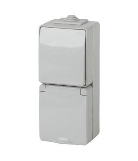 Блок розетка+выкл. верт. IP65, 16A(10AX)-250В, ОУ, Эра Эксперт, серый