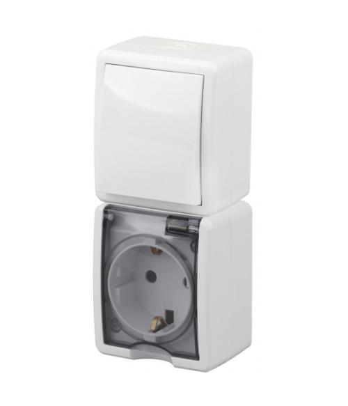 Блок розетка+выкл. верт. IP54, 16A(10AX)-250В, ОУ, Эра Эксперт, белый