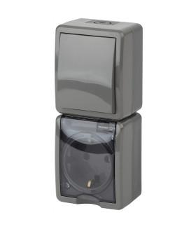 Блок розетка+выкл. верт. IP54, 16A(10AX)-250В, ОУ, Эра Эксперт, серый
