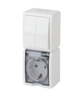 Блок розетка+выкл. двойн. верт. IP54, 16A(10AX)-250В, ОУ, Эра Эксперт, белый 11-7408-01