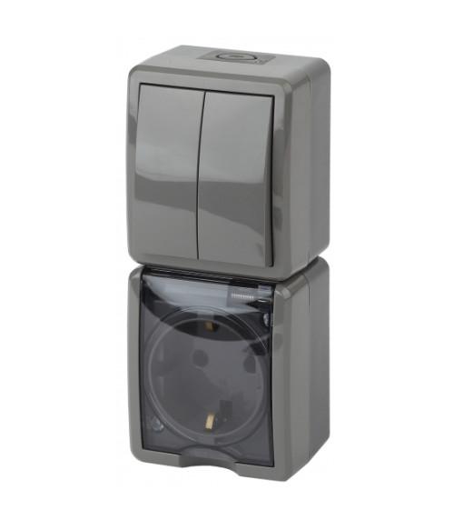 Блок розетка+выкл. двойн. верт. IP54, 16A(10AX)-250В, ОУ, Эра Эксперт, серый 11-7408-03