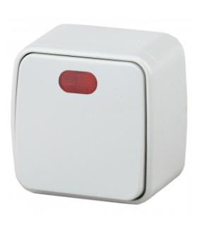 Выключатель с подсветкой, 10А-250В, IP20, ОУ, Polo, белый 3-102-01