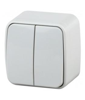 Выключатель двойной, 10А-250В, IP20, ОУ, Polo, белый 3-104-01