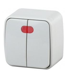 Выключатель двойной с подсветкой, 10А-250В, IP20, ОУ, Polo, белый 3-105-01