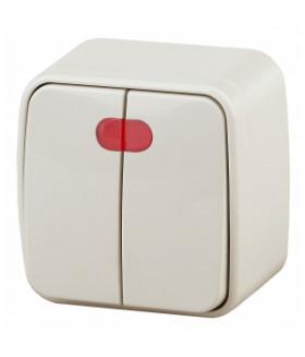 Выключатель двойной с подсветкой, 10А-250В, IP20, ОУ, Polo, слоновая кость 3-105-02