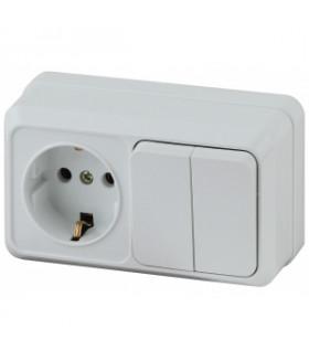 Блок розетка+выключатель двойной горизонтальный 10(16)А-250В, IP20, ОУ, Quadro, белый 2-702-01