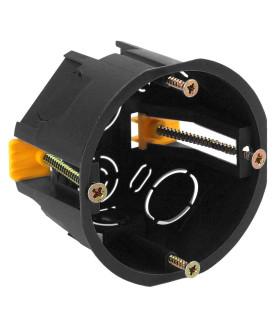 Коробка установочн. КУП 68х45мм для полых стен саморез. пластиковая лапк. черная IP30 KUP-68-45-black