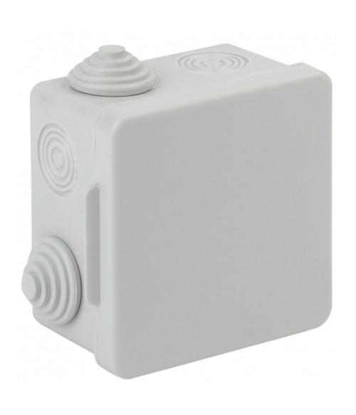 Коробка распаячн. открытой установки КОР 80х80х50мм с гермовводами 7 вх. IP54 KOR-80-80-50-7g