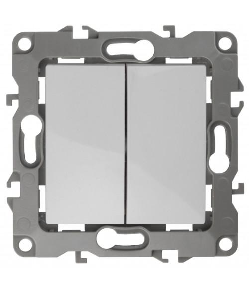 Выключатель двойной, 10АХ-250В, Эра12, Al+Cu, белый 12А-1004-01