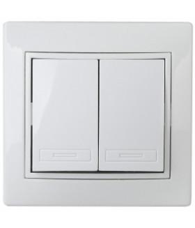 Выключатель двойной, 10А-250В, СУ, б.л., Plano, белый 1Э-104-01