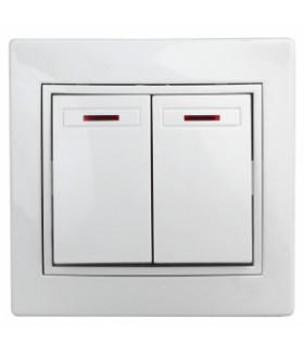 Выключатель двойной с подсветкой, 10А-250В, СУ, б.л., Plano, белый 1Э-105-01