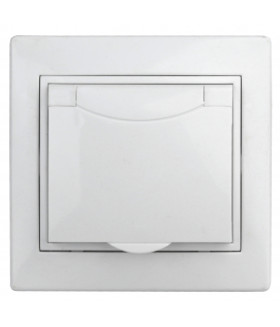 Розетка 2P+E Schuko с крышкой штор., 16А-250В, СУ, б.л., Plano, белый 1Э-207-01