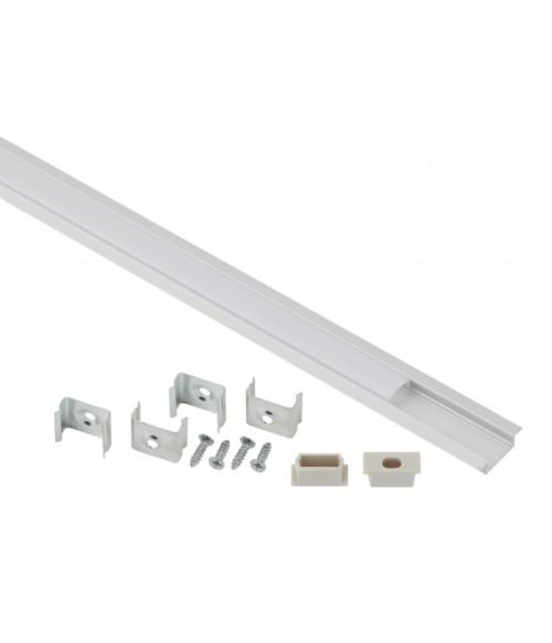 Комплект с врезным анодированным профилем с фланцем CAB251 21х6мм, 2м 2206