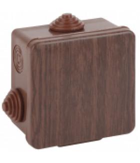 Коробка распаячн. открытой установки КОР (дуб) 65х65х50мм с гермовводами 4 вх. IP54 (45/1620) ЭРА