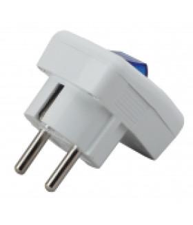 Вилка с/з с выключателем 16A белая Vx5-W ЭРА