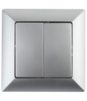 4-104-03 Intro Выключатель двойной, 10А-250В, СУ, Solo, алюминий