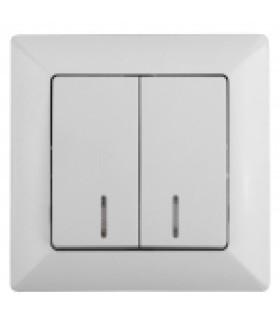 Выключатель двойной с подсветкой, 10А-250В, СУ, Solo, белый 4-105-01 Intro