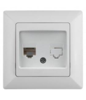 Розетка телефонная RJ11, СУ, Solo, белый 4-302-01 Intro