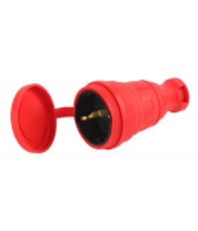 Разъём каучуковый c/з прямой 16A IP44 красный R8-RED-IP44 ЭРА